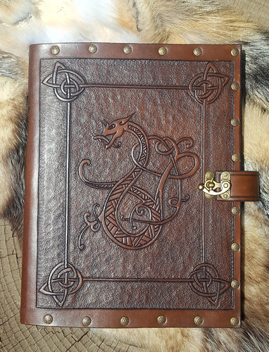 Hand Tooled Leather Journal with Sketchbook, Skyrim Inspired Celtic Dragon.