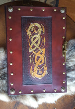 Load image into Gallery viewer, Hand Tooled Celtic Dragon Leather Journal Cover, Sketchbook Cover or Wedding Registry Book