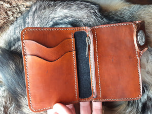 Snap Wallet Handcrafted Card Holder with Zipper Pocket