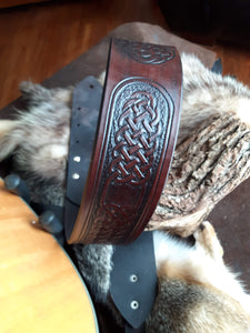 Celtic Knot Leather Guitar Strap One of a Kind