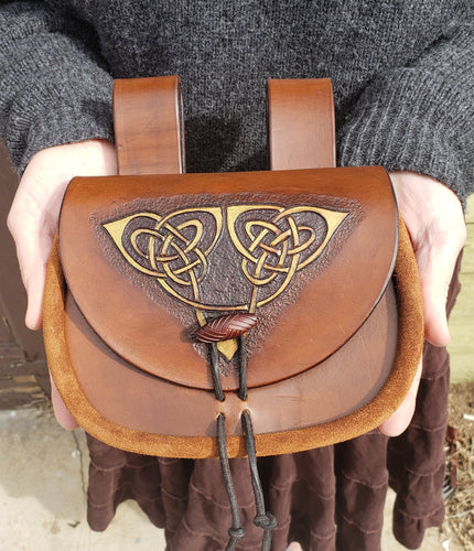 Leather Hip Pouch or Satchel, Medieval Celtic Design