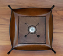Load image into Gallery viewer, The Traveler.  Compass and Arrow Handcrafted Leather Valet Tray or Catch All