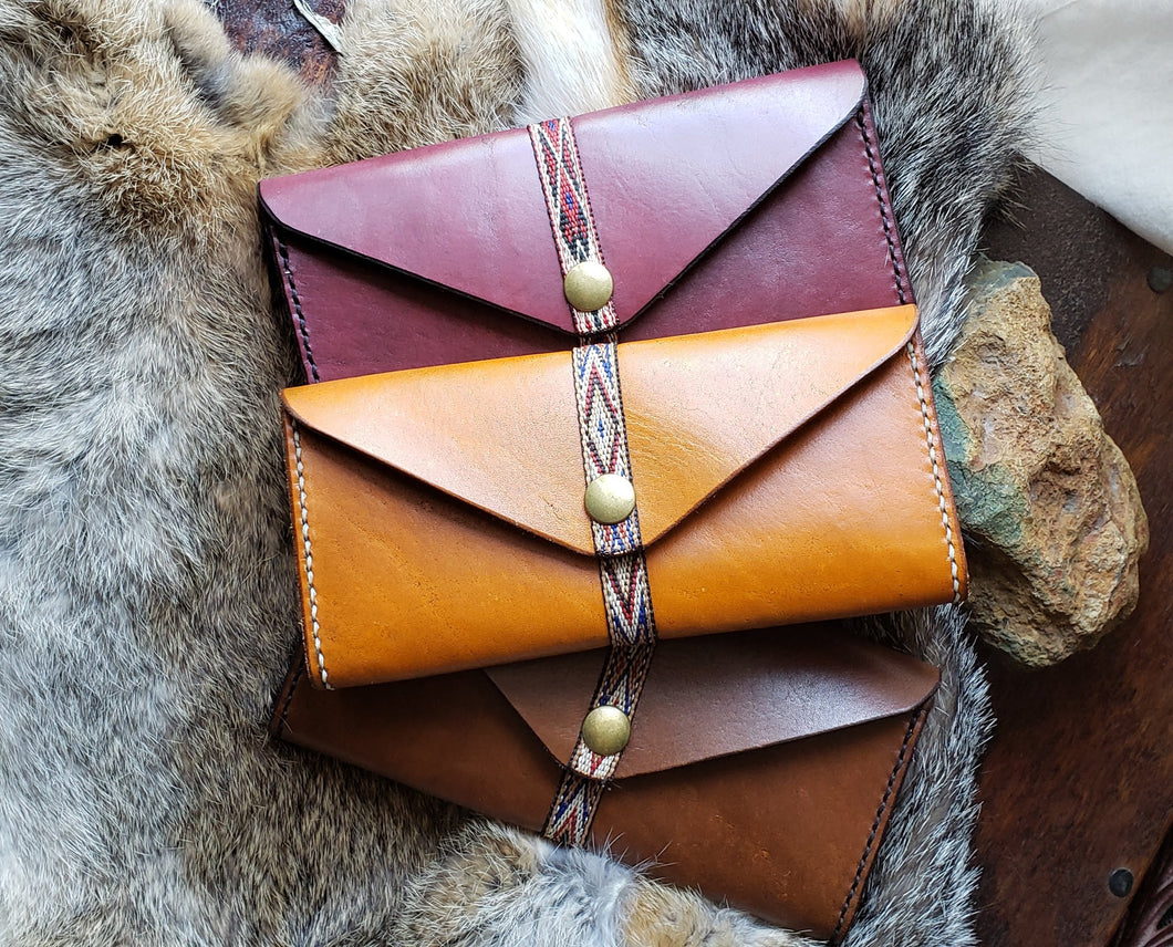 Southwestern Leather Clutch, Envelope Wallet