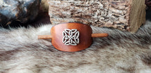Load image into Gallery viewer, Silver Plated Celtic Knot Filigree Leather Hair Slide
