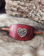 Load image into Gallery viewer, Silver Plated Heart Shaped Celtic Filigree Leather Hair Slide