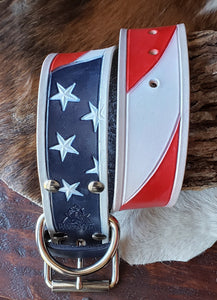 XL Leather Dog Collar, American Flag Patriotic