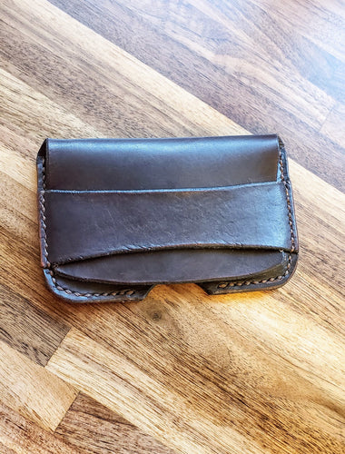 Business Card Holder Distressed Black Leather