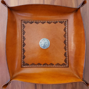 Country Western Style Leather Valet Tray or Catch All