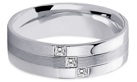 Diamond 18K Wedding Band 18D13
