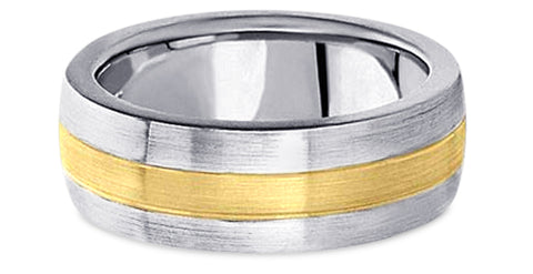 Two Tone Platinum Wedding Band PlTT11