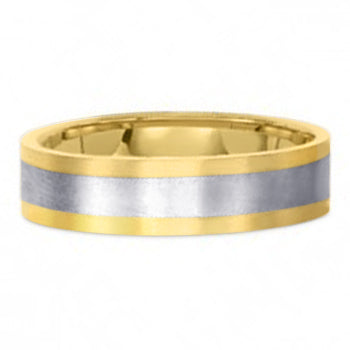 Two Tone Platinum Wedding Band PlTT12