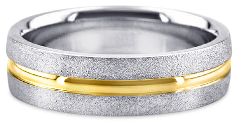 Two Tone Platinum Wedding Band PlTT13