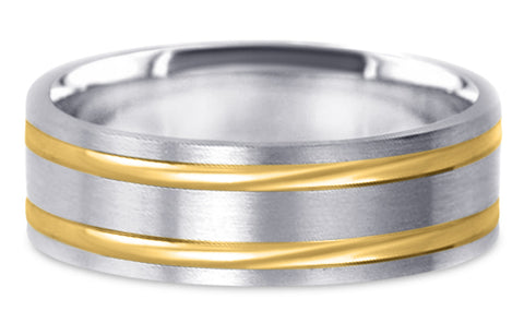 Two Tone 18K Wedding Band 18TT4-W