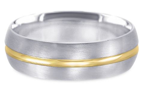 Two Tone 14K Wedding Band 14TT5-W