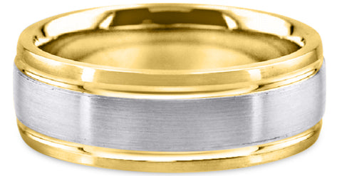 Two Tone 18K Wedding Band 18TT2-W