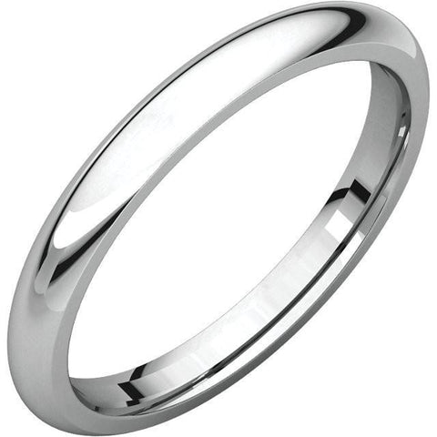 2.5mm Dome 18K White Gold Wedding Band