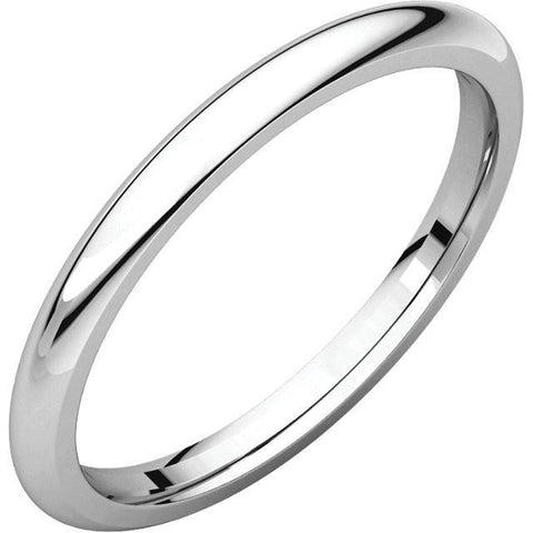 2mm Dome 18K White Gold Wedding Band