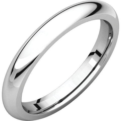 3mm Dome 18K White Gold Wedding Band