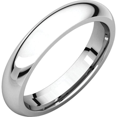 4mm Dome 18K White Gold Wedding Band