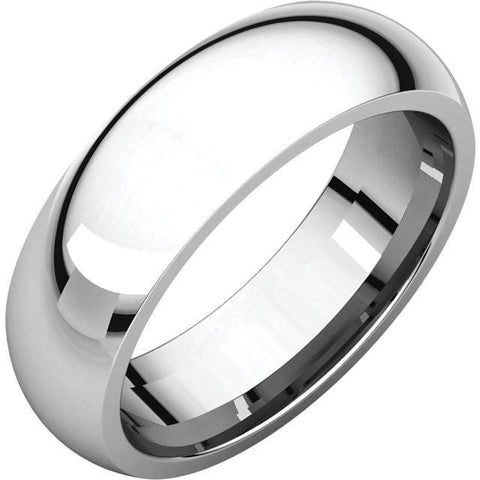 6mm Dome 18K White Gold Wedding Band
