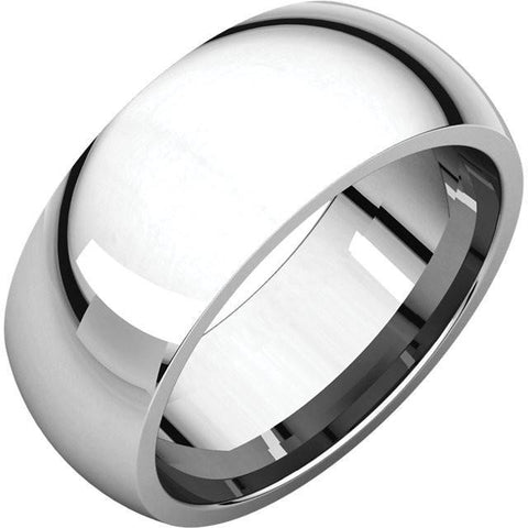 8mm Dome 18K White Gold Wedding Band