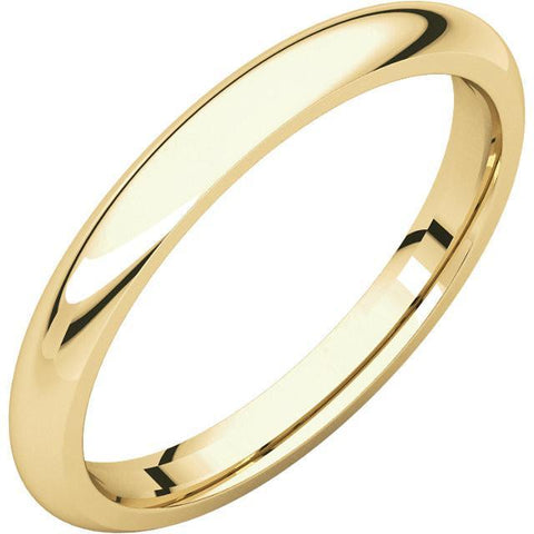 2.5mm Dome 14K Yellow Gold Wedding Band