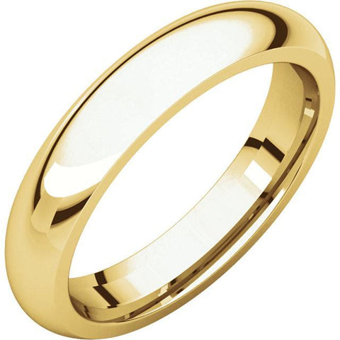 4mm Dome 18K Yellow Gold Wedding Band