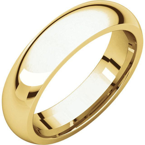 5mm Dome 18K Yellow Gold Wedding Band