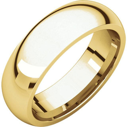 6mm Dome 18K Yellow Gold Wedding Band