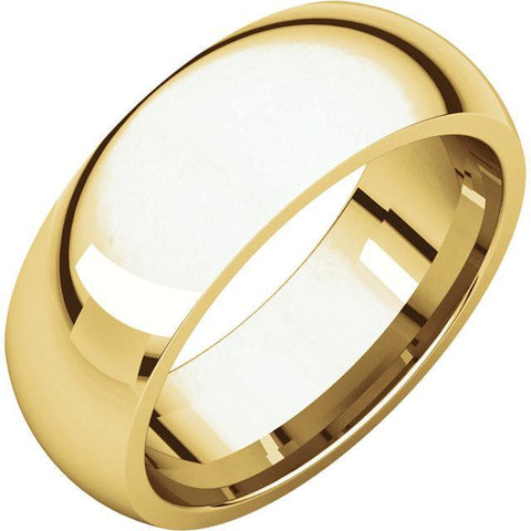 7mm Dome 18K Yellow Gold Wedding Band