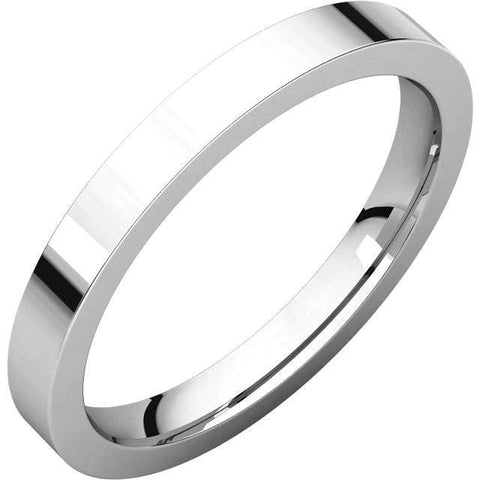 2.5mm Flat 18K White Gold Wedding Band