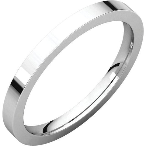 2mm Flat 18K White Gold Wedding Band