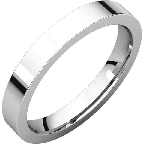 3mm Flat 18K White Gold Wedding Band