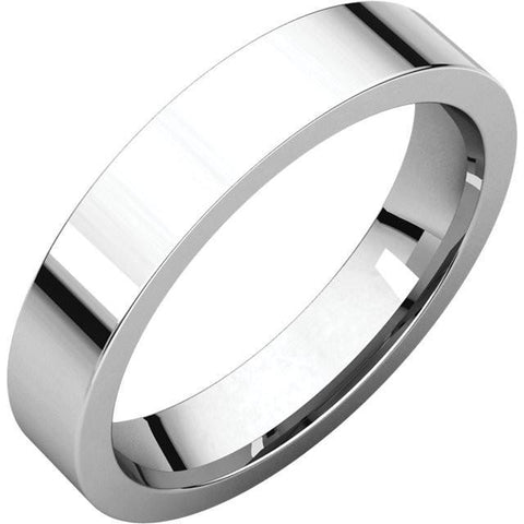 4mm Flat 14K White Gold Wedding Band