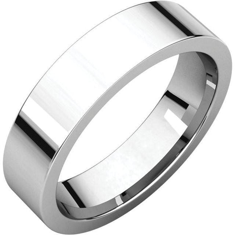 5mm Flat 18K White Gold Wedding Band