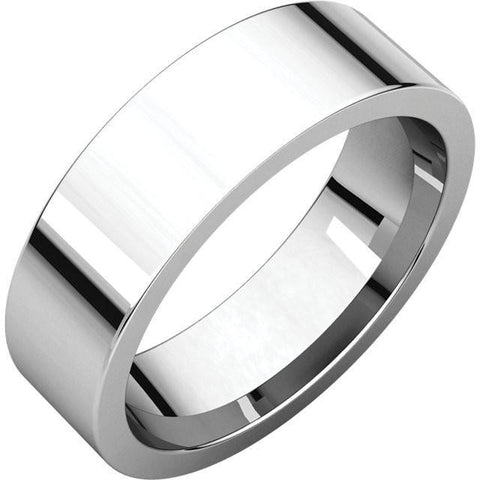 6mm Flat 18K White Gold Wedding Band