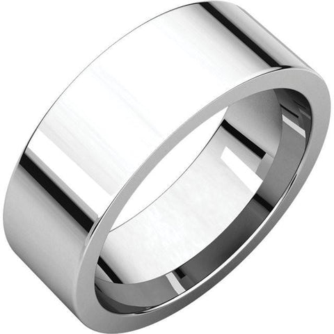 7mm Flat 18K White Gold Wedding Band