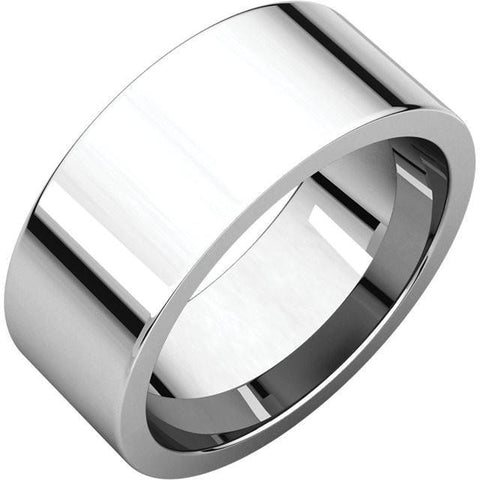 8mm Flat 18K White Gold Wedding Band