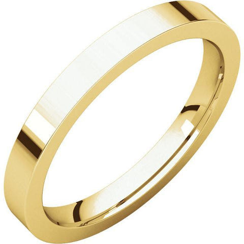 2.5mm Flat 18K Yellow Gold Wedding Band