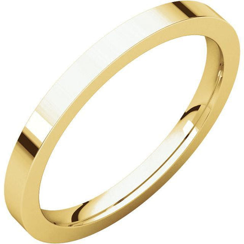 2mm Flat 18K Yellow Gold Wedding Band