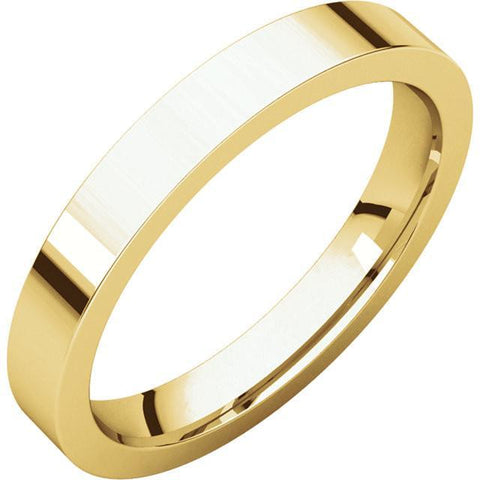 3mm Flat 18K Yellow Gold Wedding Band