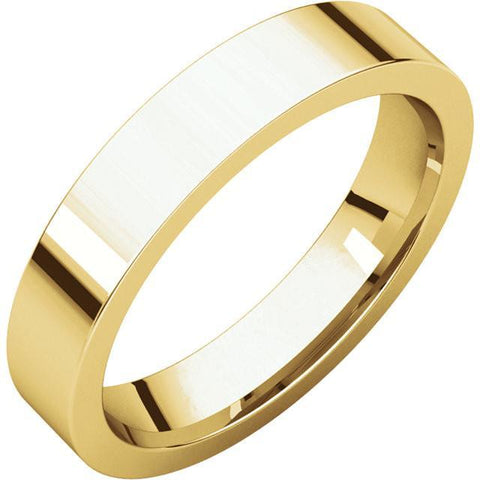 4mm Flat 18K Yellow Gold Wedding Band