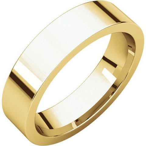 5mm Flat 18K Yellow Gold Wedding Band