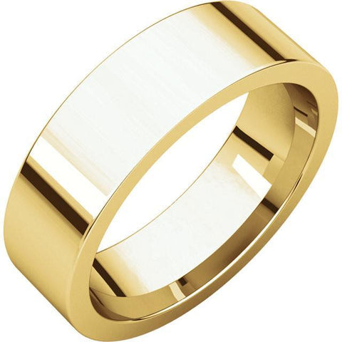6mm Flat 18K Yellow Gold Wedding Band