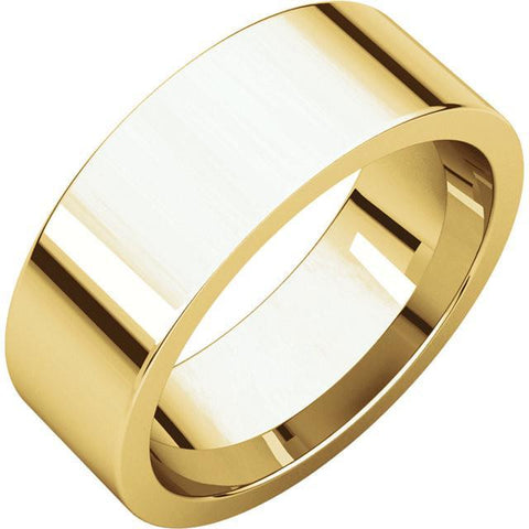 7mm Flat 14K Yellow Gold Wedding Band