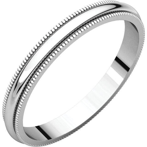 2.5mm Milgrain 18K White Gold Wedding Band