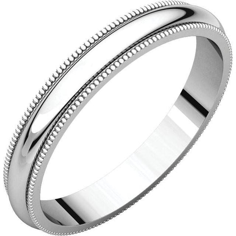 3mm Milgrain 14K White Gold Wedding Band