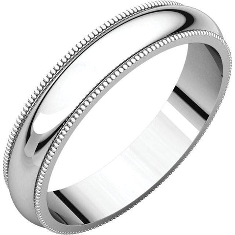4mm Milgrain 18K White Gold Wedding Band