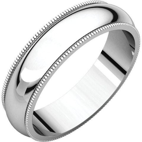 5mm Milgrain 18K White Gold Wedding Band