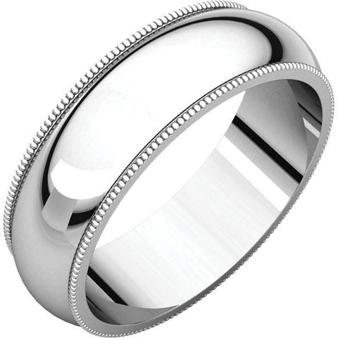 6mm Milgrain 18K White Gold Wedding Band